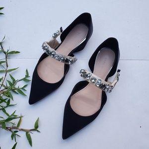 Zara Size 5 Jewel Contrasting Ballerina Flats